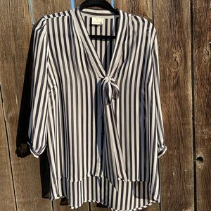 Black and white stripe button down top